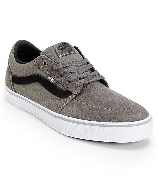 Vans Lindero Dark Grey & Black Suede Skate Shoes (Mens)