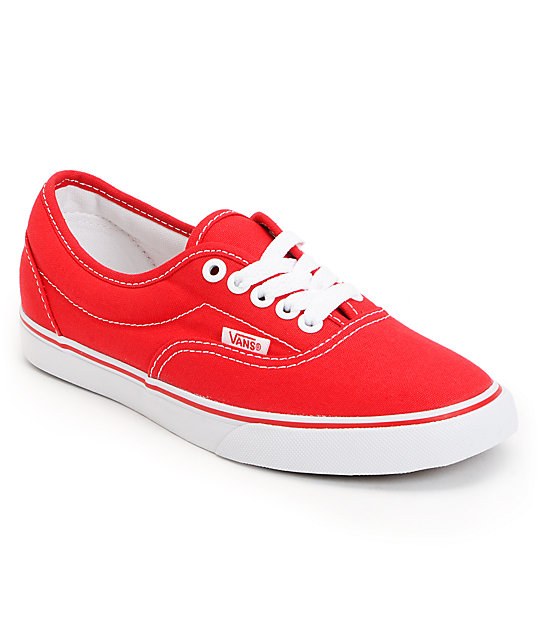 Vans Lo Pro Era Red Canvas Skate Shoes (Womens)s