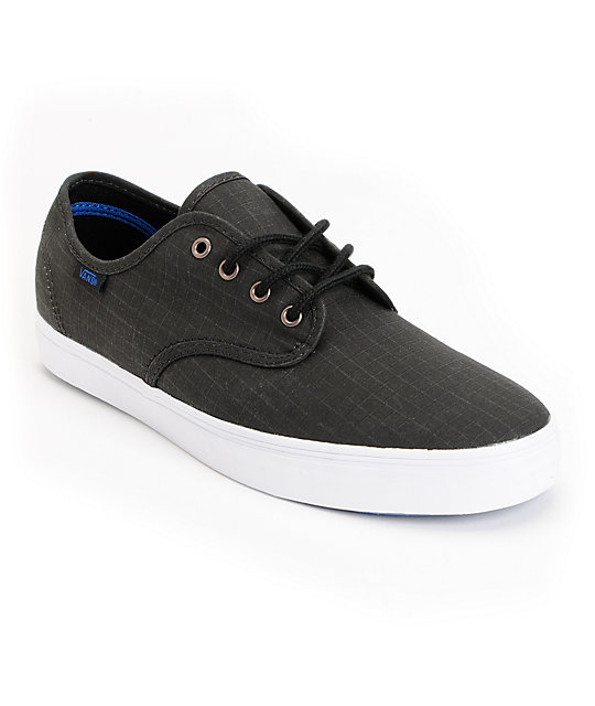Vans Madero Black Washed Ripstop Skate Shoes (Mens)