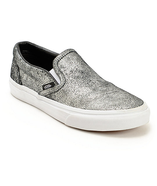 vans metallic silver slip on shoes