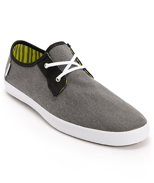 Vans Michoacan Grey Herringbone Slip On Skate Shoes (Mens)