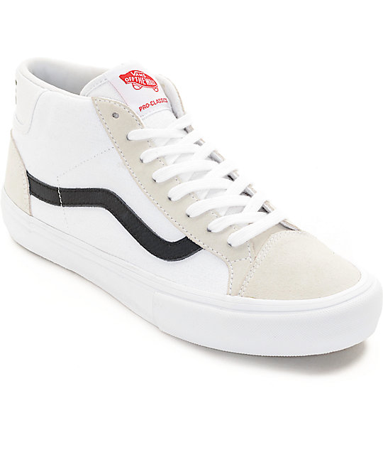 Vans Mid Skool Pro White & Black Skate Shoes