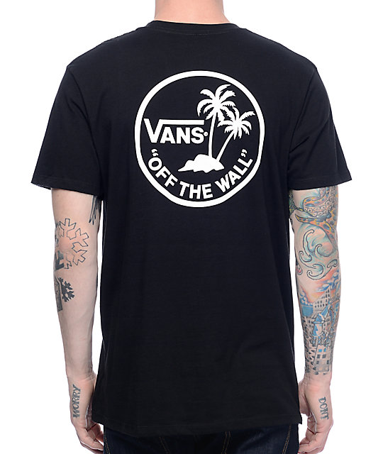 vans mini dual palm black t shirt. Black Bedroom Furniture Sets. Home Design Ideas