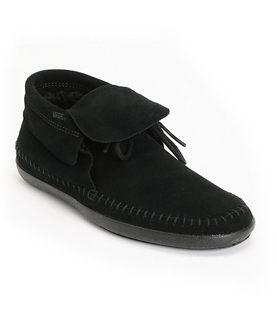 Vans Mohikan Mid Black & Fleece Slip On Shoes (Womens)