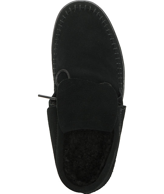 Vans Mohikan Mid Black & Fleece Slip On Shoes