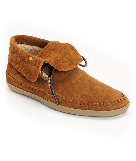 Vans Mohikan Mid Brown & Fleece Slip On Shoes (Womens)