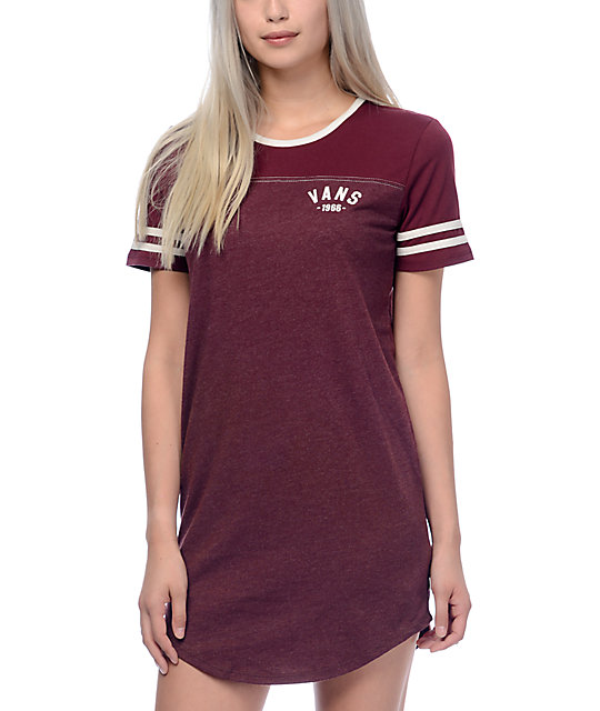 Vans North 45 Burgundy T-Shirt Dress