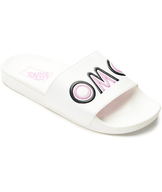 Vans OMG White Slide Sandals