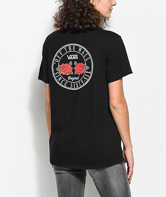 Vans OTW Red Rose Black Boyfriend T-Shirt