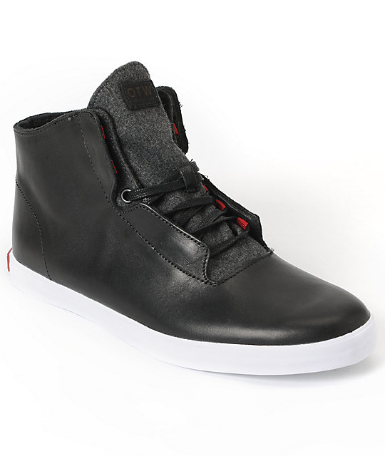 Vans OTW Stovepipe Black & White Leather Skate Shoes (Mens)