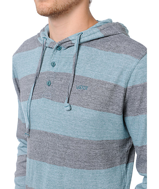Vans Occulta Bar Stripe Black & Blue Henley Long Sleeve Shirt