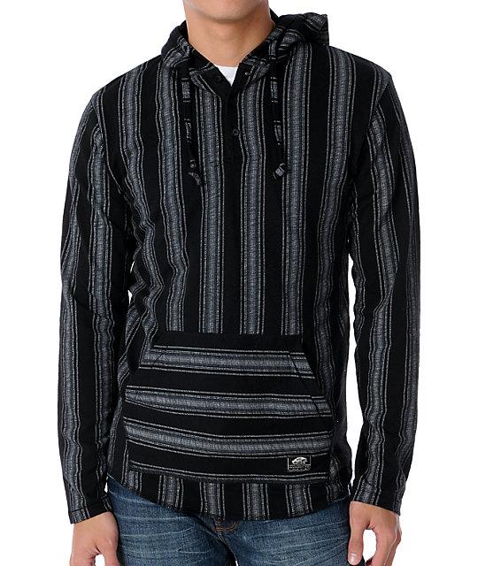 Vans Occulta Black Striped Hooded Henley Shirt