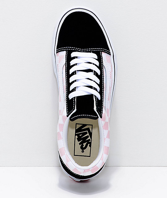 Vans Pink And Black Checkered Shoes