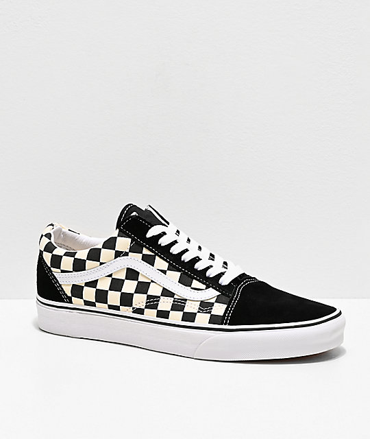 white checkerboard vans shoes