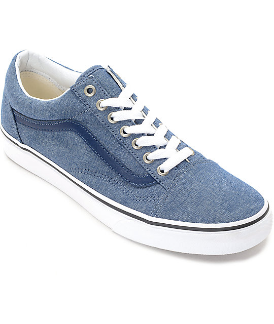 Vans Old Skool Blue Chambray Skate Shoes