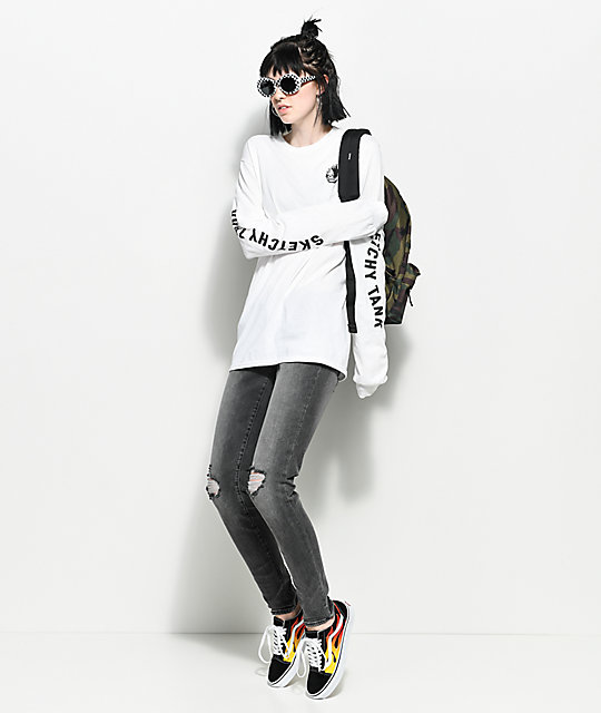 Vans Old Skool Flame Black u0026 White Skate Shoes | Zumiez