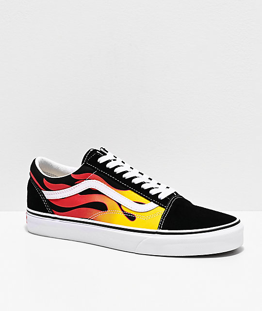 Vans Old Skool Flame Black White Skate Shoes Zumiez