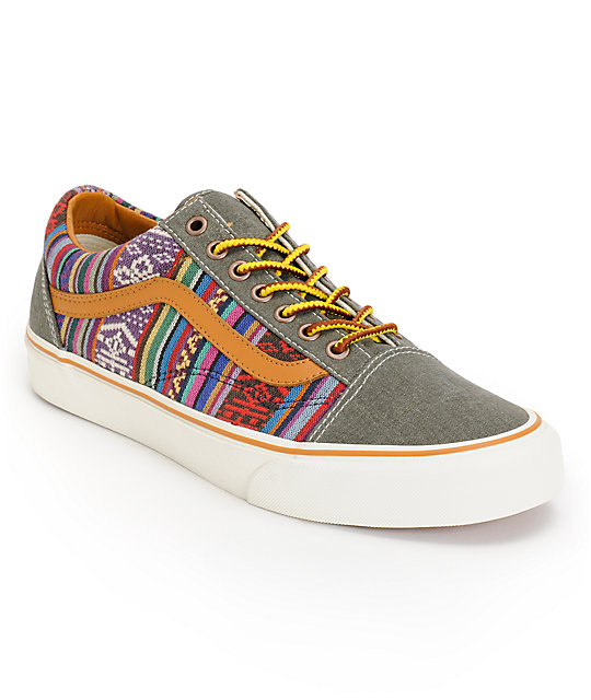 Vans Old Skool Guate Olive Night Canvas Skate Shoes