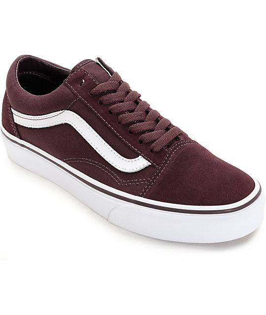 Vans Old Skool Iron Brown & White Shoes (Womens)