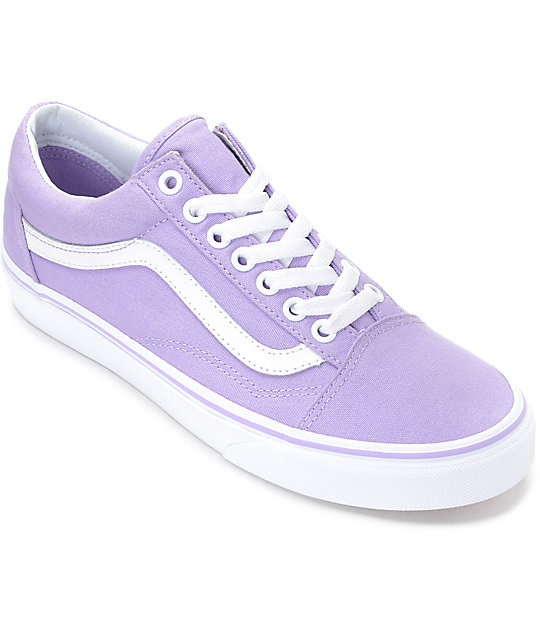 vans skool lavender white canvas shoes