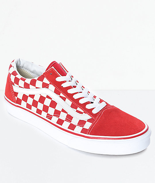 vans old skool red amp white checkered skate shoes zumiez