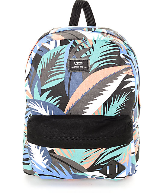 vans old school backpack with floral print