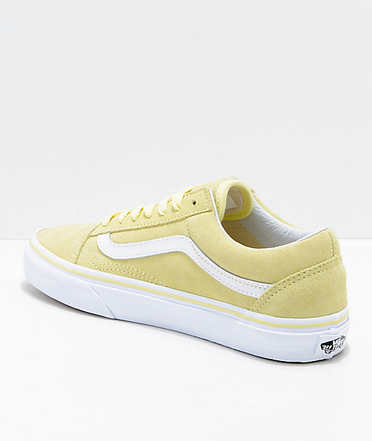 Vans Old Skool Tender Yellow & White Suede Skate Shoes