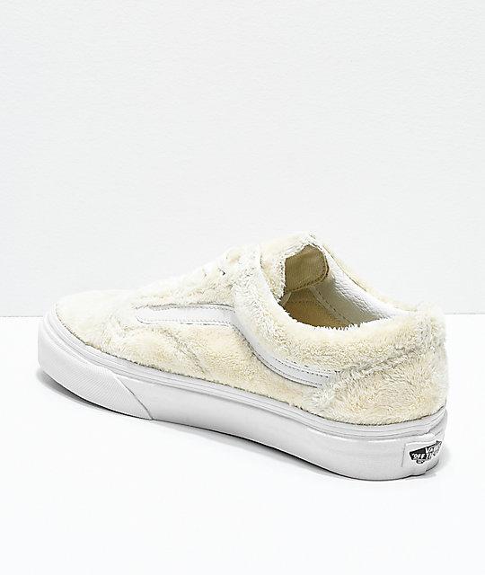 c05c2a1c701 Vans Old Skool Turtledove White Sherpa Skate Shoes