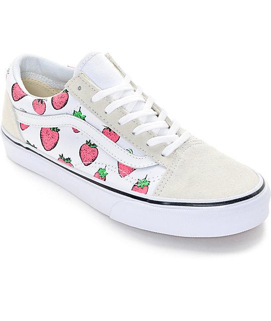 Vans Old Skool White & Strawberries Shoes (Womens)