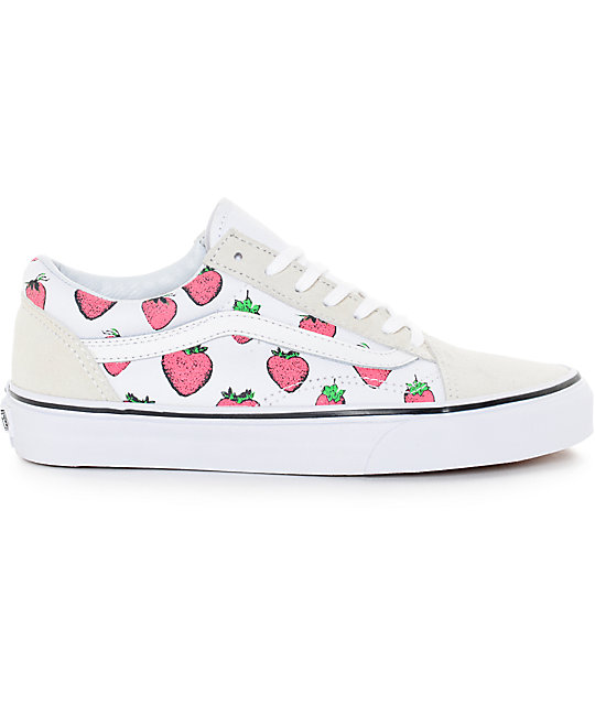 Vans Old Skool White & Strawberries Shoes