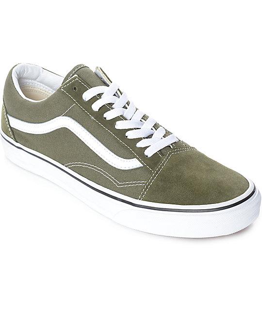 Vans Old Skool Winter Moss Green & White Skate Shoes