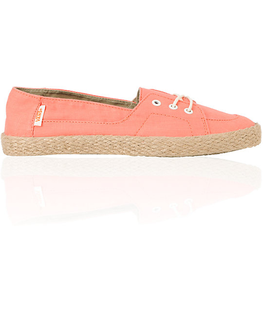 Vans Palisades Vulcanized Fusion Coral & Hemp Slip On Shoes (Womens)