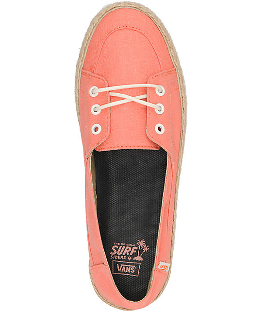 Vans Palisades Vulcanized Fusion Coral & Hemp Slip On Shoes