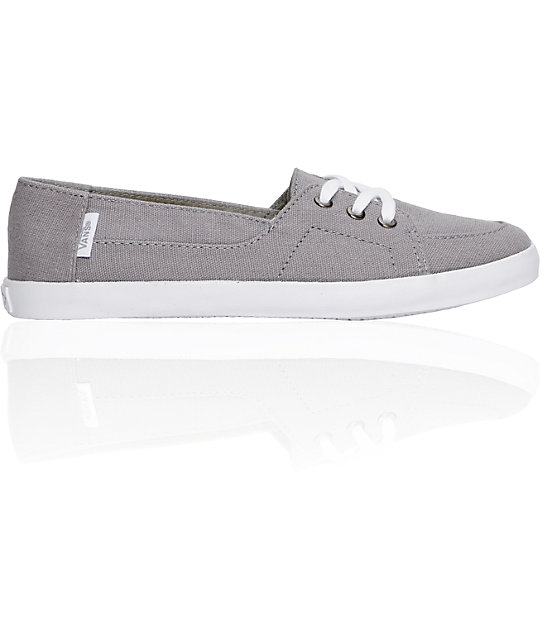 Vans Palisades Vulcanized Grey & White Shoes (Womens)