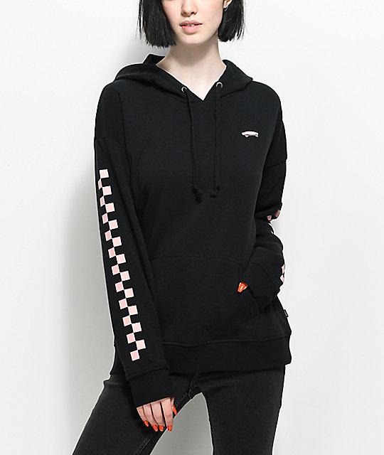 vans pink checkered black hoodie zumiez