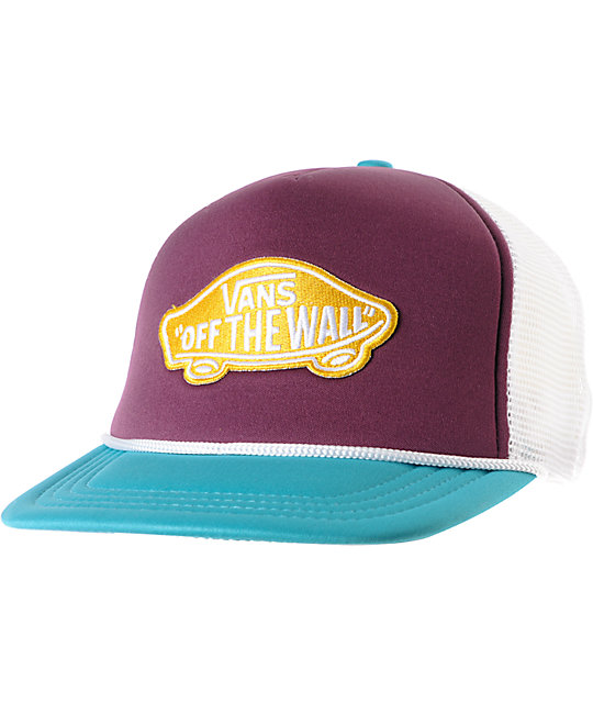 Vans Prune Purple & Teal Patch Snapback Trucker Hat