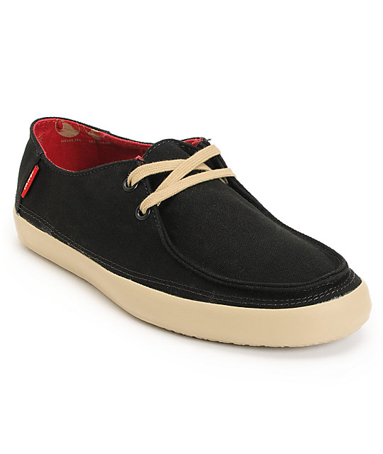 Vans Rata Black Khaki Canvas Skate Shoes (Mens)
