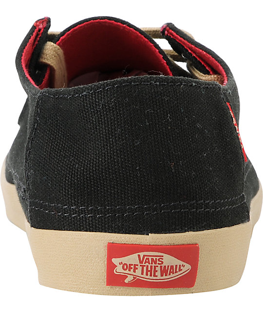 Vans Rata Black Khaki Canvas Skate Shoes