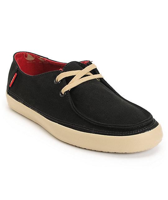 Vans Rata Black Khaki Canvas Skate Shoes