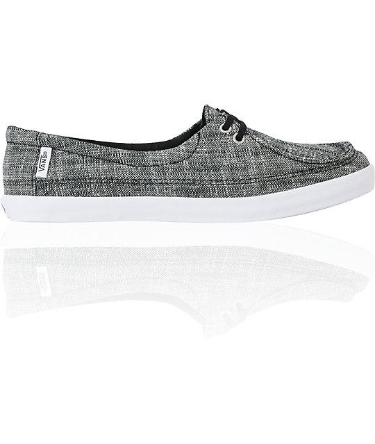 Vans Rata Lo Black Linen Shoes (Womens)