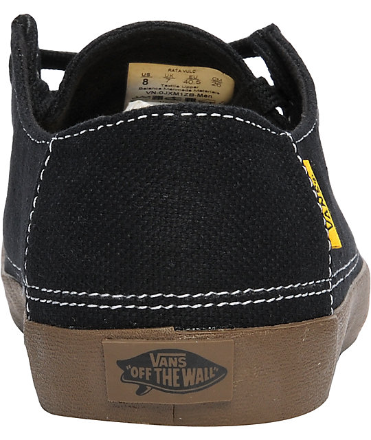 Vans Rata Vulc Black Hemp Skate Shoes