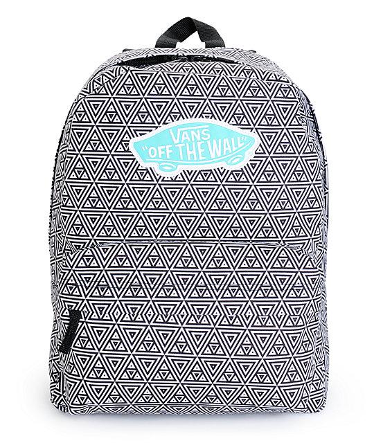 Vans Realm Black Amp White Geo Print Backpack At Zumiez Pdp