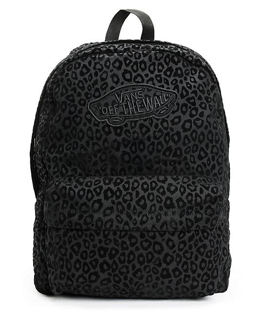 Vans Realm Black Cheetah Print Backpack