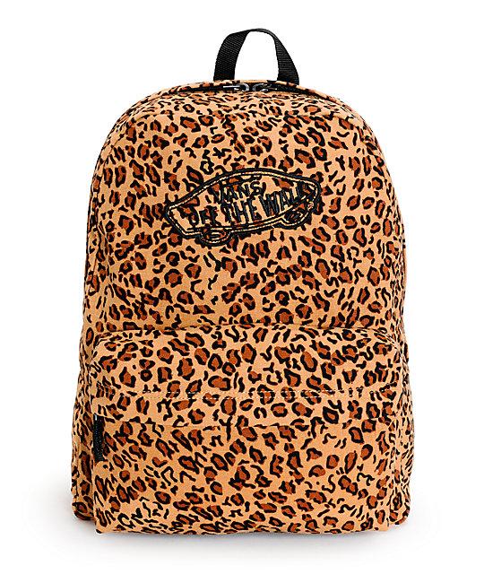 Vans Realm Mocha Brown Leopard Print Backpack