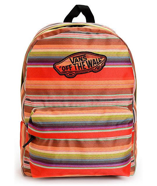 Vans Realm Multi Stripe Red Backpack