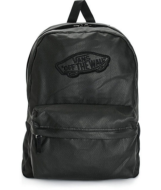 Vans Realm Perforated Leather Backpack | Zumiez