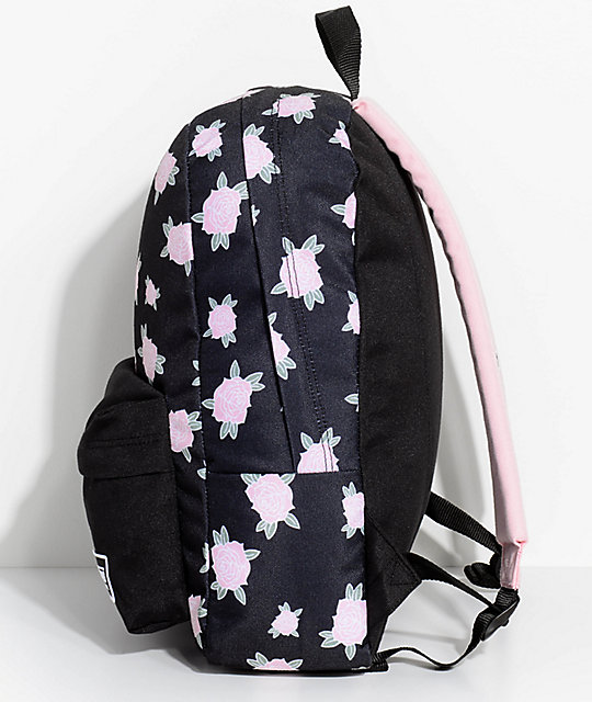 Vans Realm Pink & Black Floral 22L Backpack