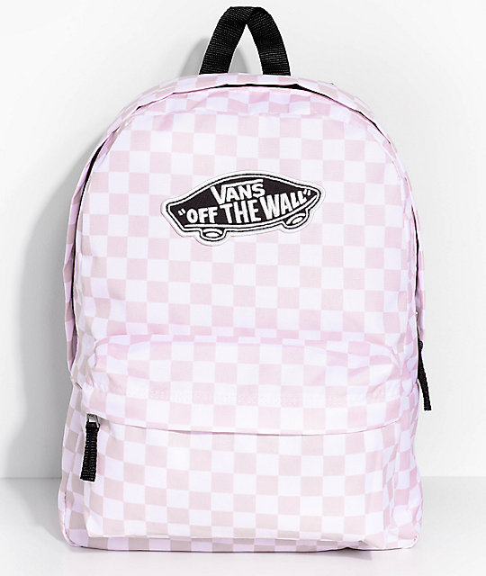 Vans Realm Pink Check 22 L Backpack by Vans