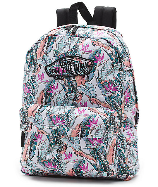 Vans Realm Tropical Multi & Black Floral Backpack