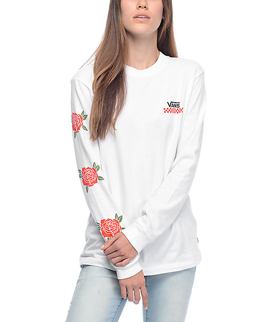 Vans Red Rose White Long Sleeve T Shirt